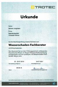 Trotec-Urkunde-Wasserschaden-Fachberater